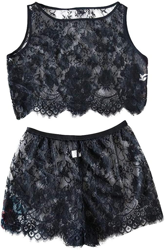 SULEAR New Sleepwear Sexy Fashion Women Eyelash Lace Sexy Underwear Bra Set Lingerie Bodydolls Sleepwear