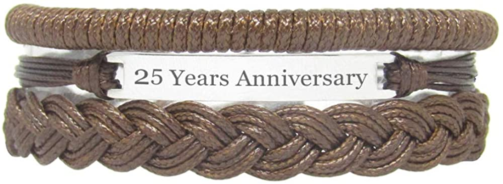 Miiras Anniversary Handmade Bracelet - 25 Years Anniversary - Brown - Made of Braided Rope and Stainless Steel - Gift for Women, Girls, Friends, Mothers, Daughters, Aunts