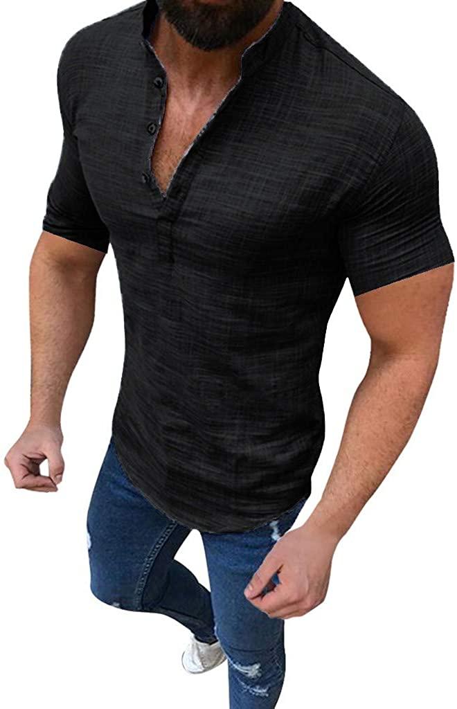 Men Linen Shirt,2019 New Casual Sexy Short Sleeve Slim Fit V Neck Henley Tops