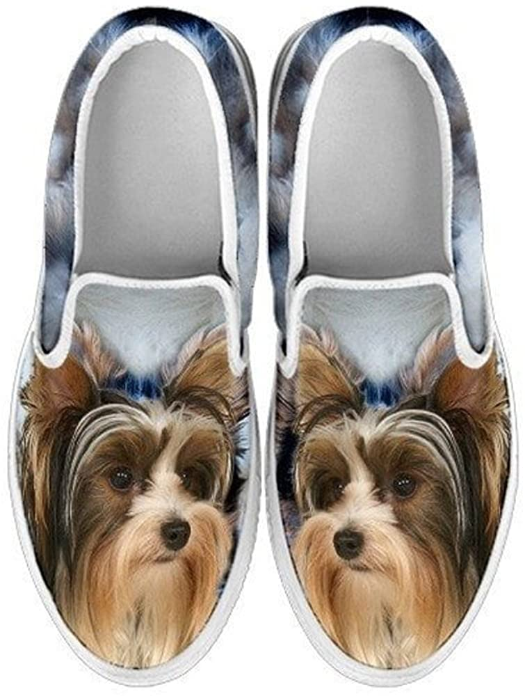 Pawlice Biewer Terrier Dog Print Slip Ons Shoes for Kids (for Biewer Terrier Dog Lovers)