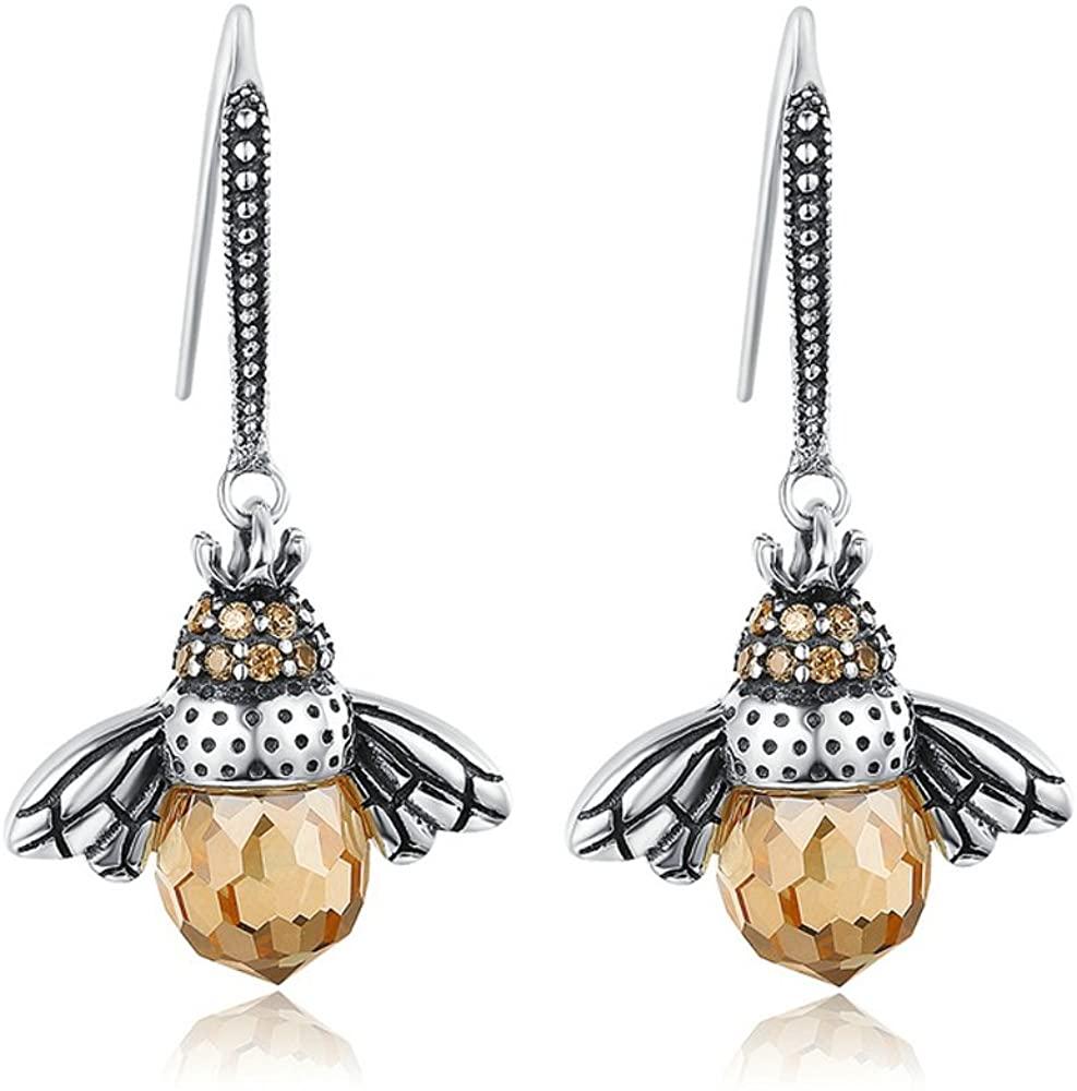 Everbling Lovely Orange Bee Animal 925 Sterling Silver Dangle Earrings
