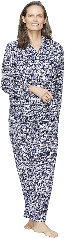 Roller Rabbit - Loungewear Pajama Set - Folk Border - Slate - Large Blue