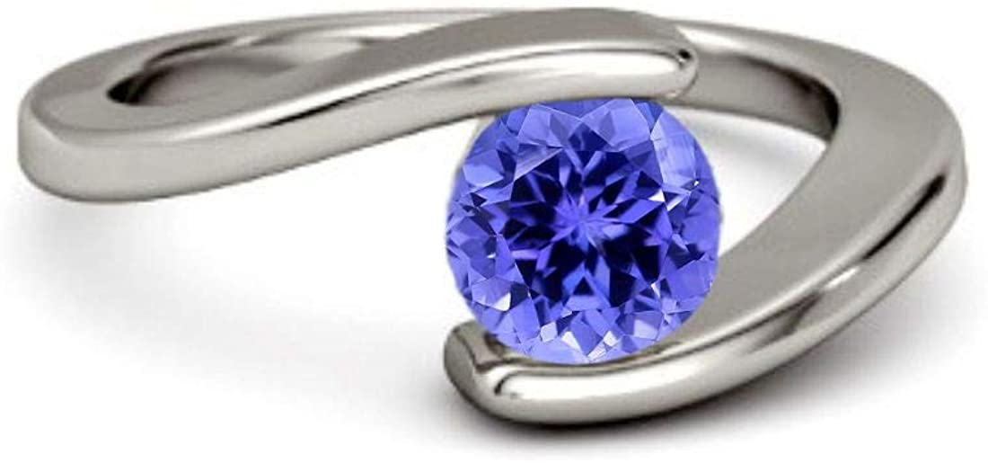 925 Sterling Silver with Natural Tanzanite Round Gemstone Fine Ring