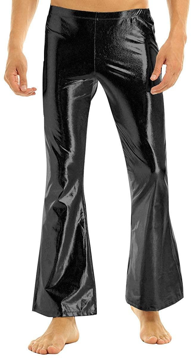 Aislor Men's Shiny Metallic 70s Vintage Disco Pants Bell Bottom Flared Dude Long Pants Trousers