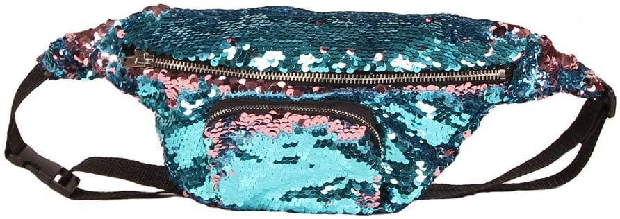 Karen Accessories Shiny Double Color Sequin Waist Pack Waist Bag Casual Sport Outdoor Travel Crossbody Bags (Blue/Pink)