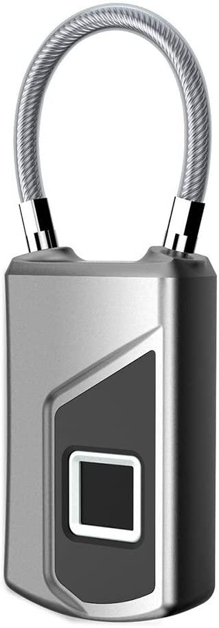 MUYIER Fingerprint Padlock, Bluetooth Lock with Keyless Biometric IP65 Waterproof Support USB Charging Suitable for Gym/Bike/School/Cabinet/Garage and Storage