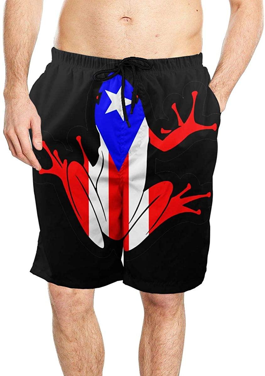 Puerto Rico Flag Frog Cool Mens Beach Shorts Quick-Drying Swimming Shorts with Pockets