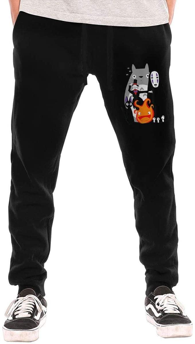 Jurenhq Totoro Spirited Away Moving Castle Studio Ghibli Mens Sweatpants Sport Pants Casual Teen Trousers with Pockets