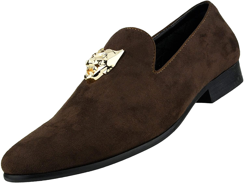 Amali Rion - Men's Velvet Dress Shoes with Gold Panther Bit, Formal Loafers, Moccasins for Men - Designer Shoes - Original Men's Smoking Slip-On Shoes