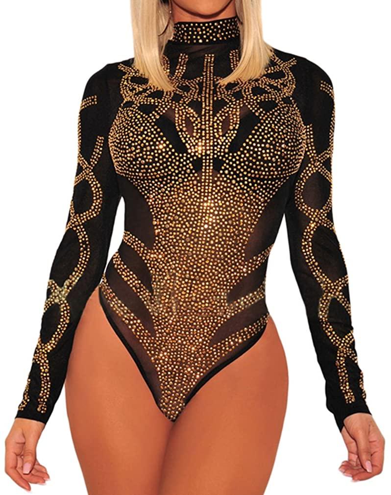 HaniLav Women's Sexy Sheer Mesh Rhinestone Long Sleeves Bodysuits Clubwear S-4XL