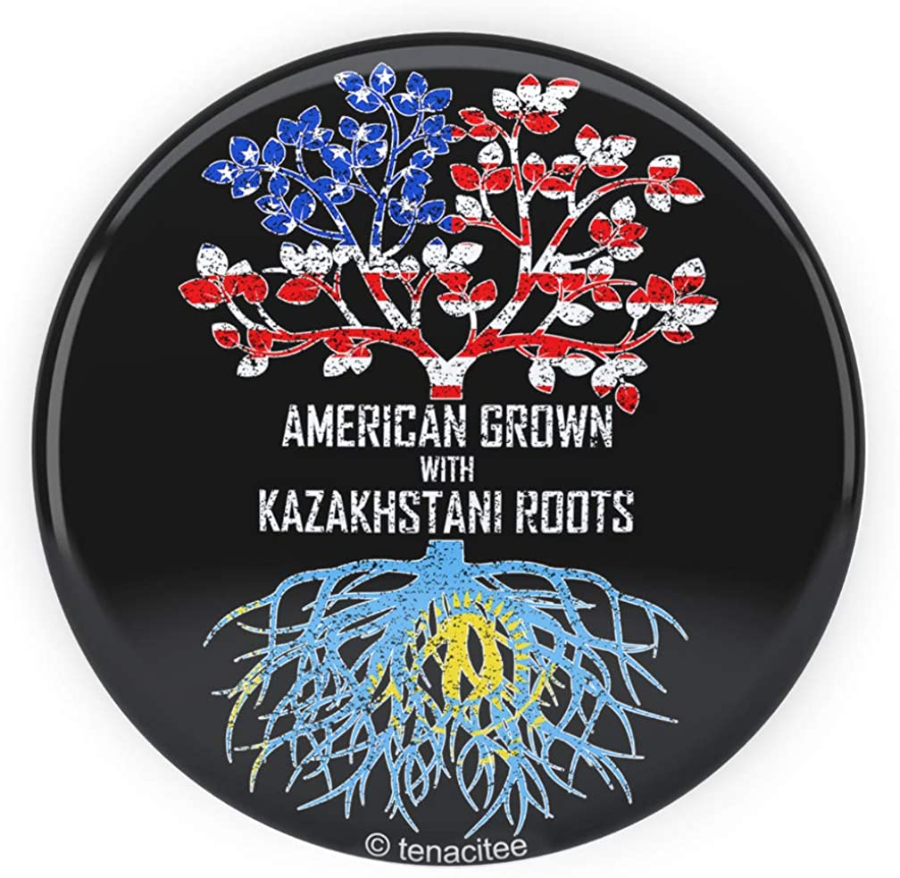 Tenacitee American Grown with Kazakhstani Roots Pinback Button