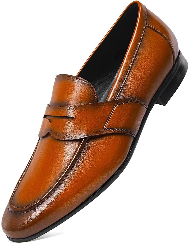 Frasoicus Men's Slip-On Loafers Formal Leather Dress Shoes for Men
