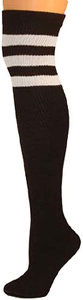Retro Tube Socks - Black w/ White (Over Knee),Medium