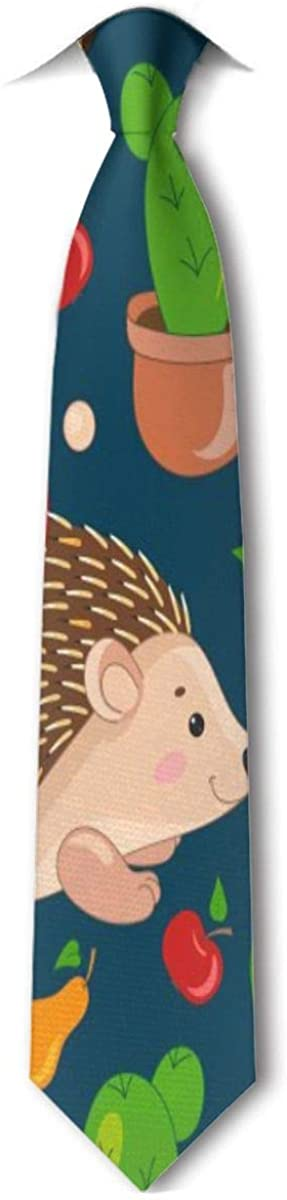 Hedgehogs Cacti Men's Tie Hipster Skinny Neckwear Leisure Neckties