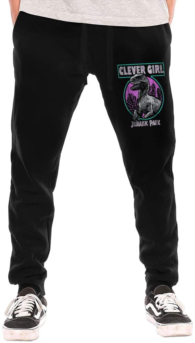 Jurassic Park Distressed Teal Raptor Clever Girl Mans Sweatpants Sport Pants Casual Teen Trousers with Pockets