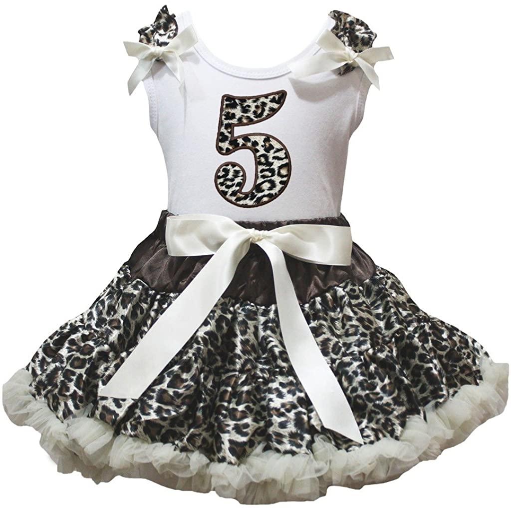 Petitebella Leopard 5th White Shirt Leopard Beige Skirt Set 1-8y