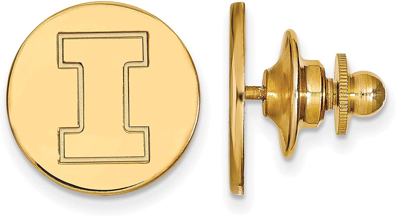 14k Yellow Gold University of Illinois Fighting Illini Block I Letter Lapel Pin 15x15mm