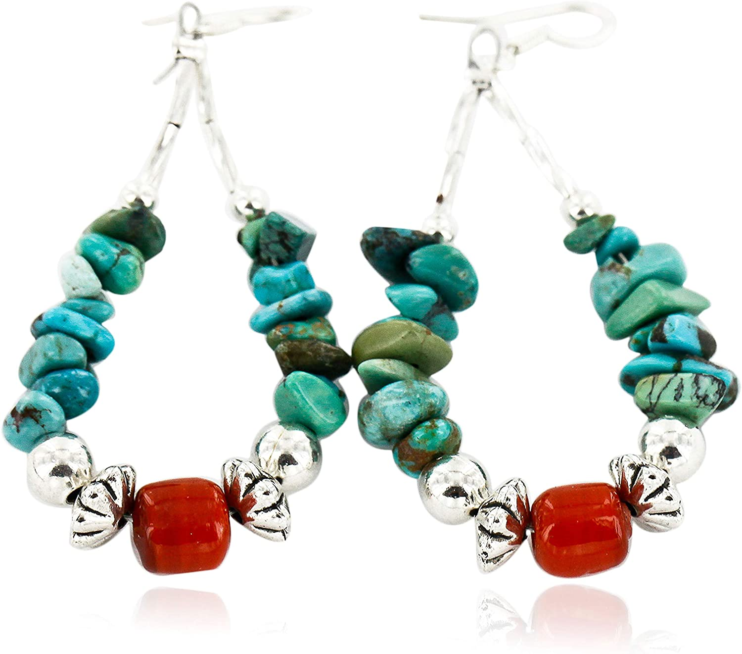 $90Tag Certified Silver Navajo Hooks Natural Turquoise Coral Native Earrings 18098-4 Made By Loma Siiva