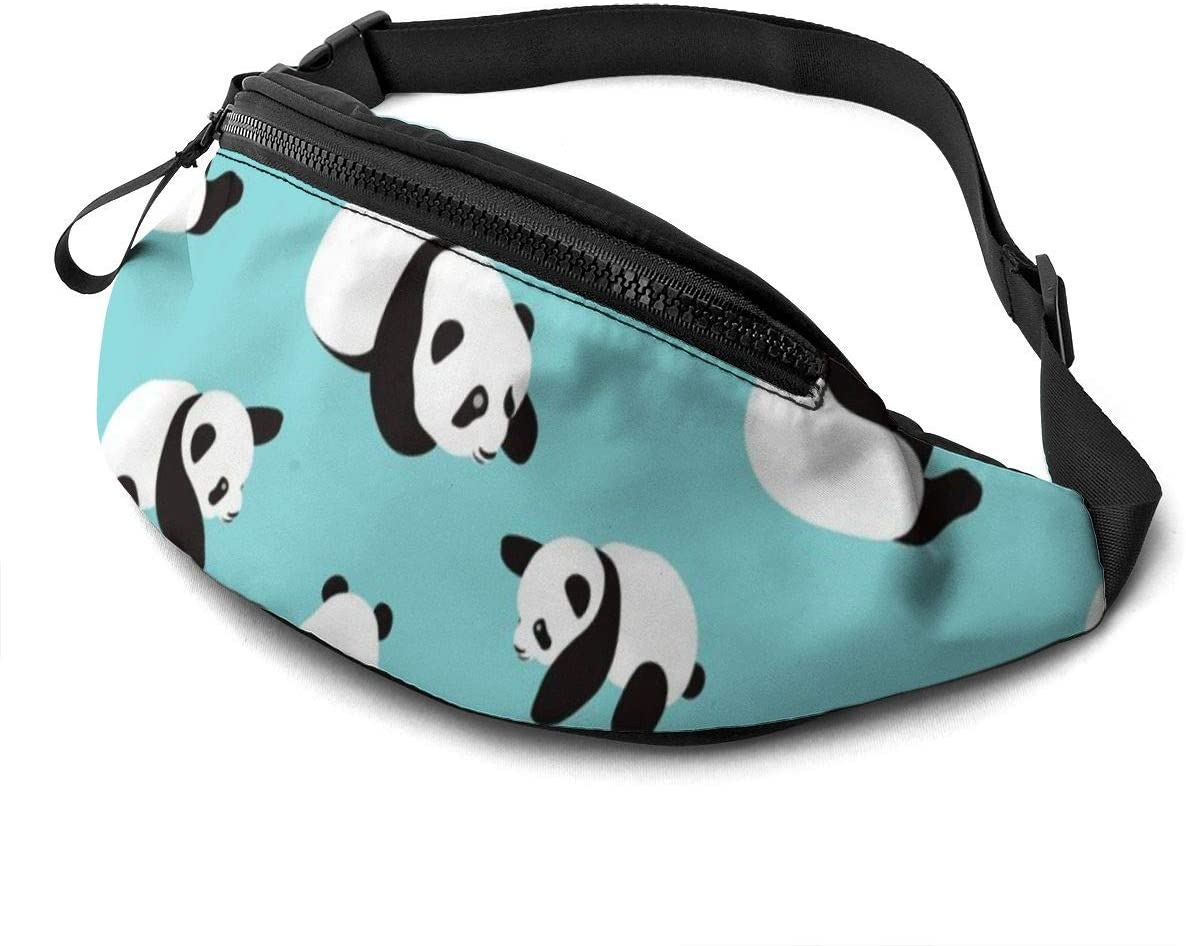 Cute Panda Fanny Pack for Men Women Waist Pack Bag with Headphone Jack and Zipper Pockets Adjustable Straps