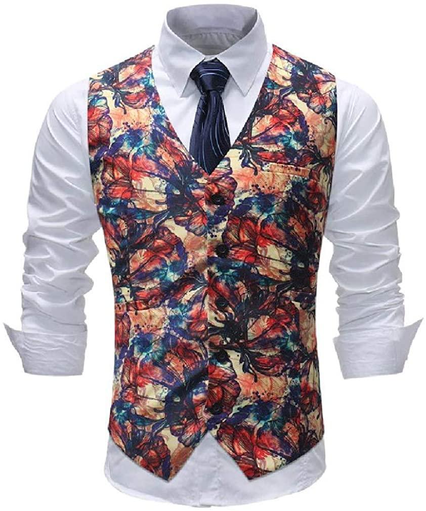 Spirio Men's Floral Print Formal Sleeveless Slim V Neck Suit Vests Waistcoat