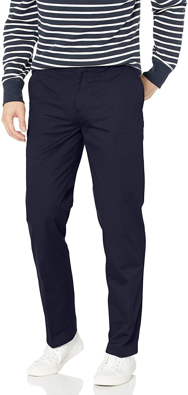 Louis Raphael KHAKIS Mens Flat Front Cotton Blend Pant with Comfort Waistband