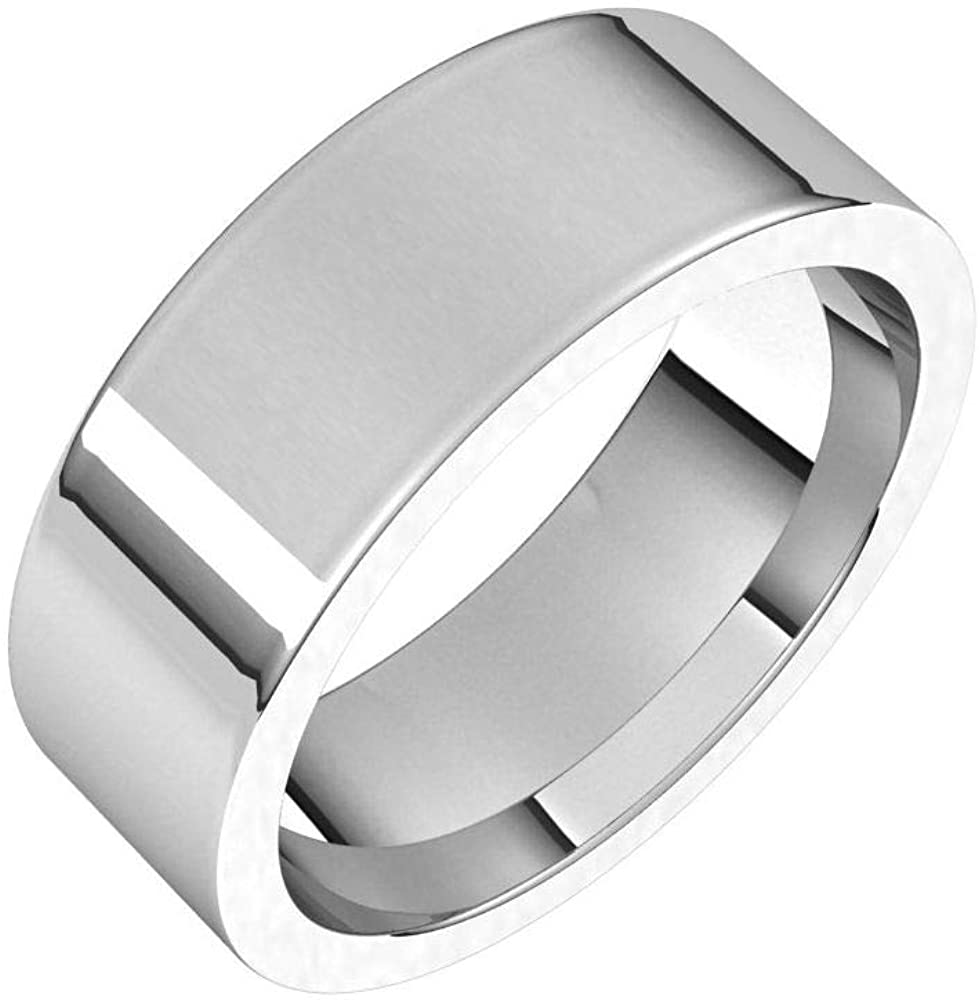 Solid 18K White Gold 7mm Flat Comfort Fit Wedding Band Size 12