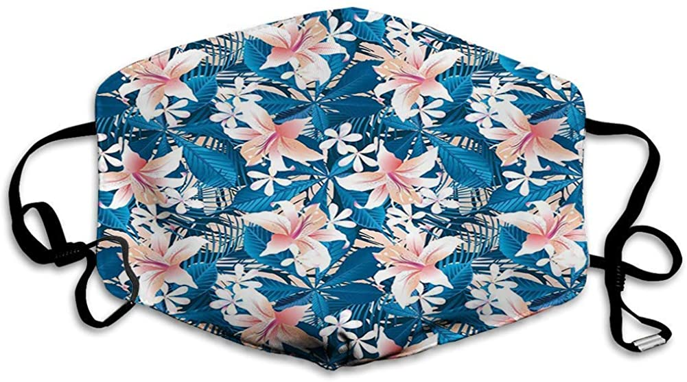 BOKUTT Decorative mouth cover,Leaf,Singapore Plumeria and Tropical Hibiscus Hawaiian Flowers Grunge Design,Pink White and Dark Blue
