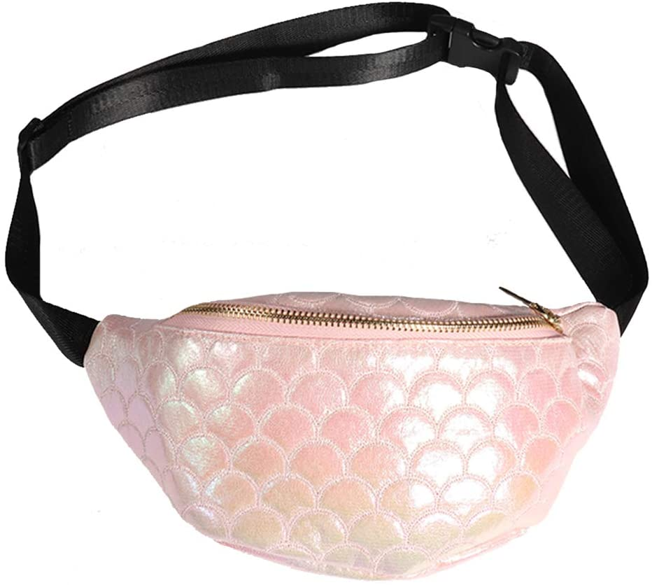 Fish Scale Fanny Pack Sparkly Waist Bag Shiny Bum Bag with Adjustable Belt for Women Lady Evening Party (Pink)