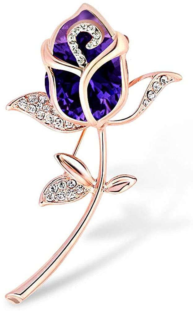 Casa De Novia Women Elegant Tulip Pin Brooch Flower 6 Color Crystal Rhinestone Wedding Party Bouquet Jewelry Gift