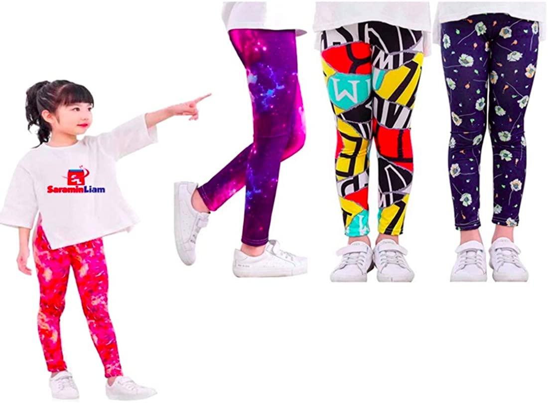 Saramin Liam 3 Pack Super Soft Girls Leggings Stretchy Kids and Children (4-11Yrs)