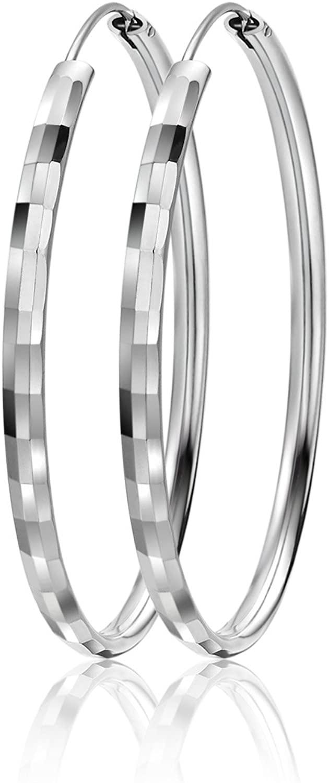 LIUANAN 925 Sterling Silver 50mm& 55mm & 60mm Round Hoops Earrings Fashion Sport Ear Stud Pair