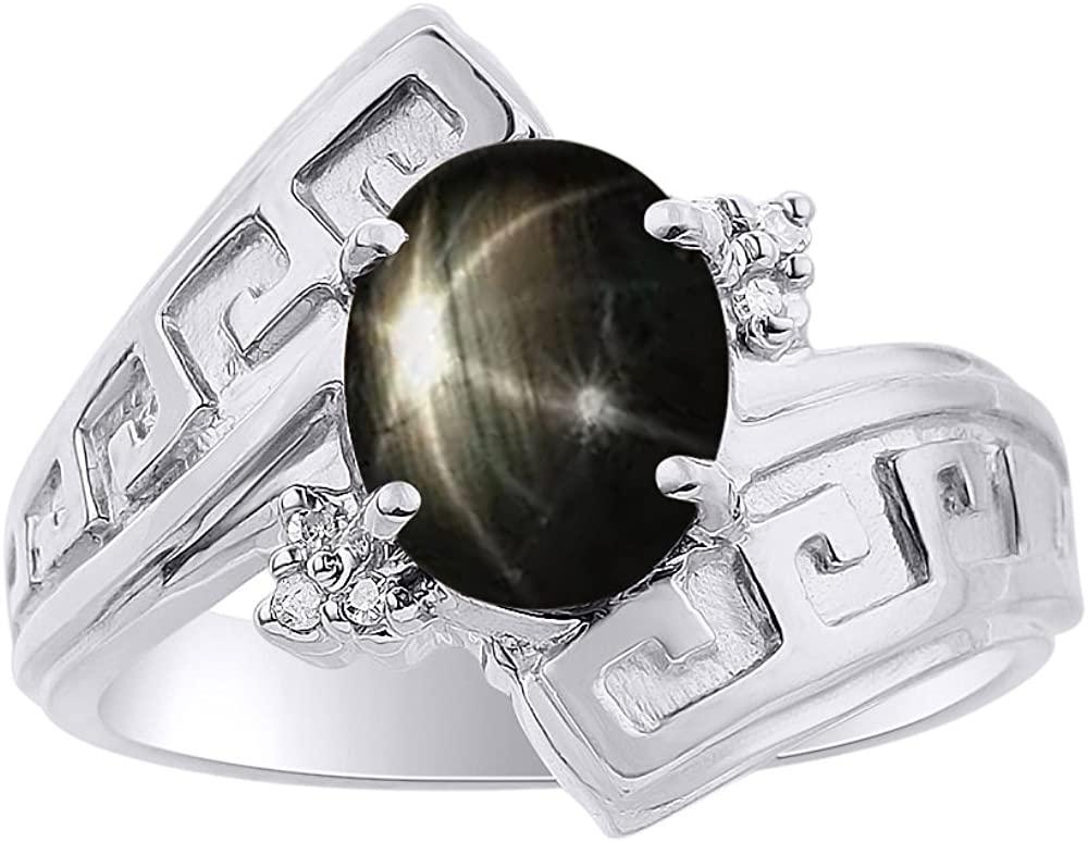 Diamond & Black Star Sapphire Ring Set In 14K White Gold - Greek Key Design - Color Stone Birthstone Ring