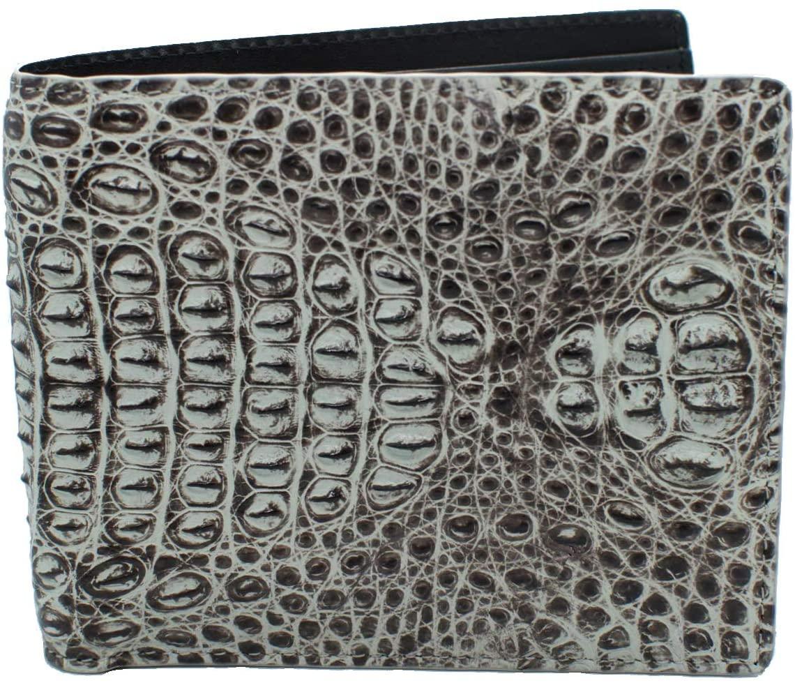 Authentic Elfano Crocodile Skin Men's Bifold Crocodile Head Section Natural White Wallet