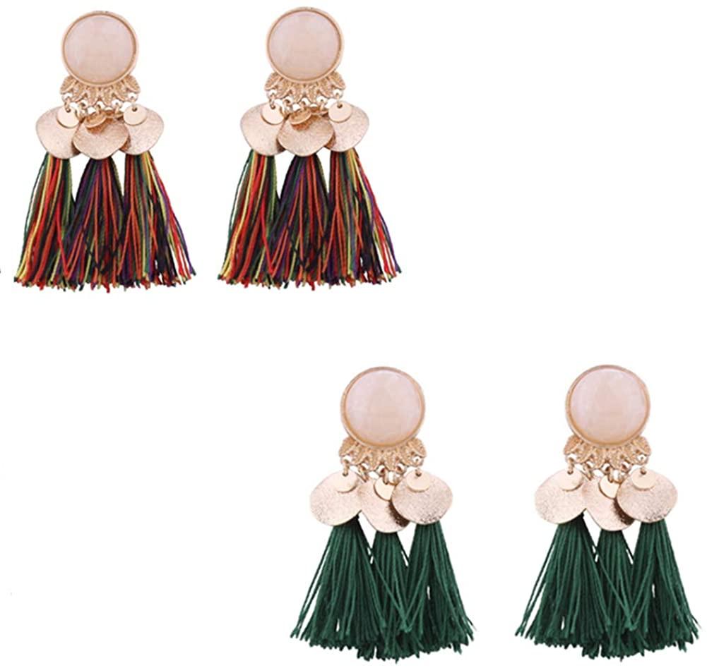 Alloy Resin Fringe Earrings Multicolor Earrings Faux Tassel Earrings Bohemian Statement Thread Tassel Dangle Earrings