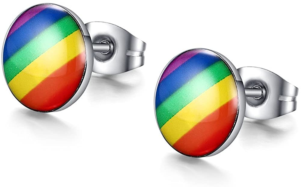 MG Gay Pride Jewelry Stainless Steel Rainbow Striped Round Dot Stud Earrings for Men Women,Gay and Lesbian Pride Earrings