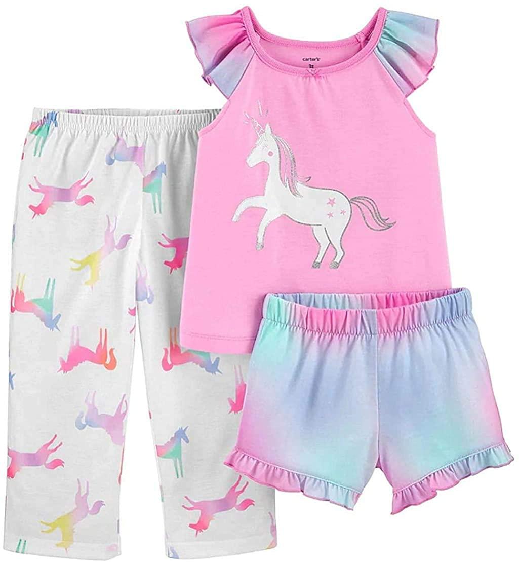 Carter's Toddler Girl's Tie-Dye Rainbow Unicorn 3-Piece Poly Pajama Set