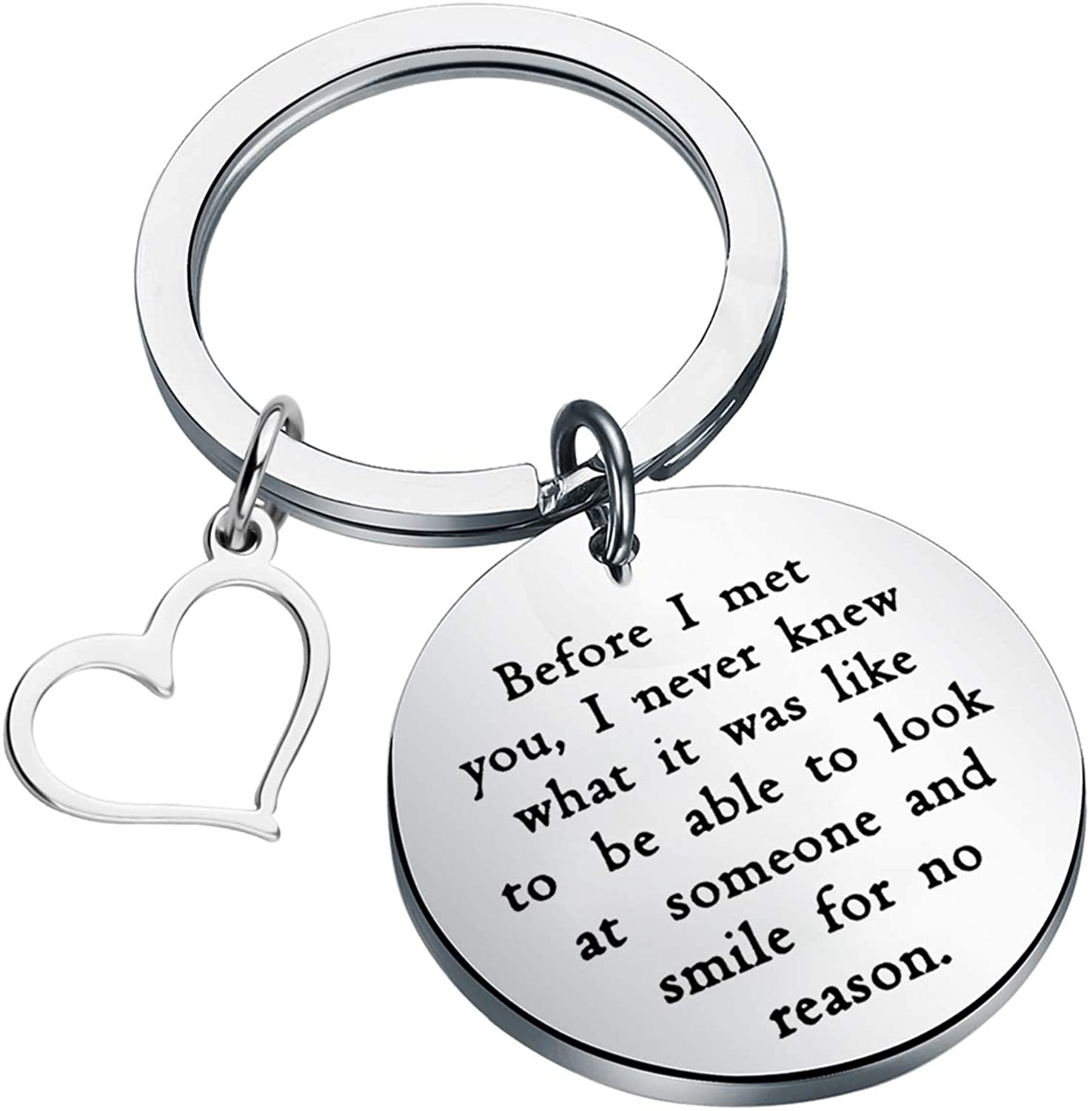 CENWA Wedding Quote Jewelry Boyfriend Gift Before I Met You I Never Knew What It was Like Keychain