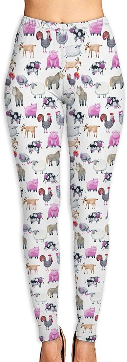 GUAHUAXIANG Women's Watercolor Farm Animals Leggings Yoga Long Pants Casual Sweatpants Athletic Gym Pants WhiteX-Large