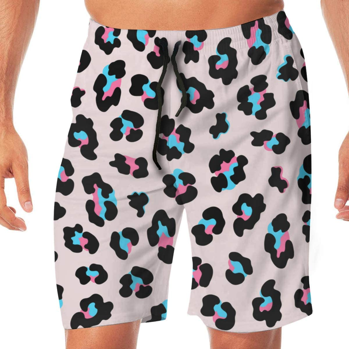 Men's Casual Classic Beach Short Quick Dry All Over Classic Leopard Color Print Pink Print Swim Trunk for Man