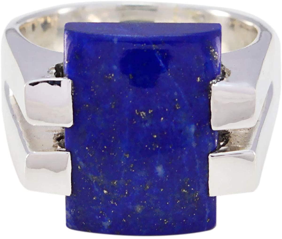 Joyas Plata Nice Gemstone Octagon Shape One Stone Cabochon Lapis Lazuli ring-Sterling Silver Blue Lapis Lazuli Ring-October Birth Libra Astrology Nice Gemstone Ring SRLLACB-6091-4 us