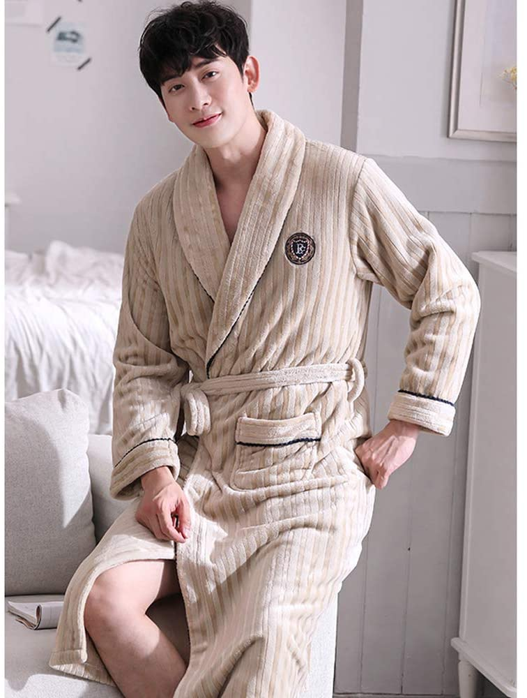 HOOLNB Men's Winter Thickened Long Coral Fleece Pajamas Warm Autumn and Winter Flannel Winter Bathrobe Bathrobe with Belt Nightwear Plush Homewear,XXXL