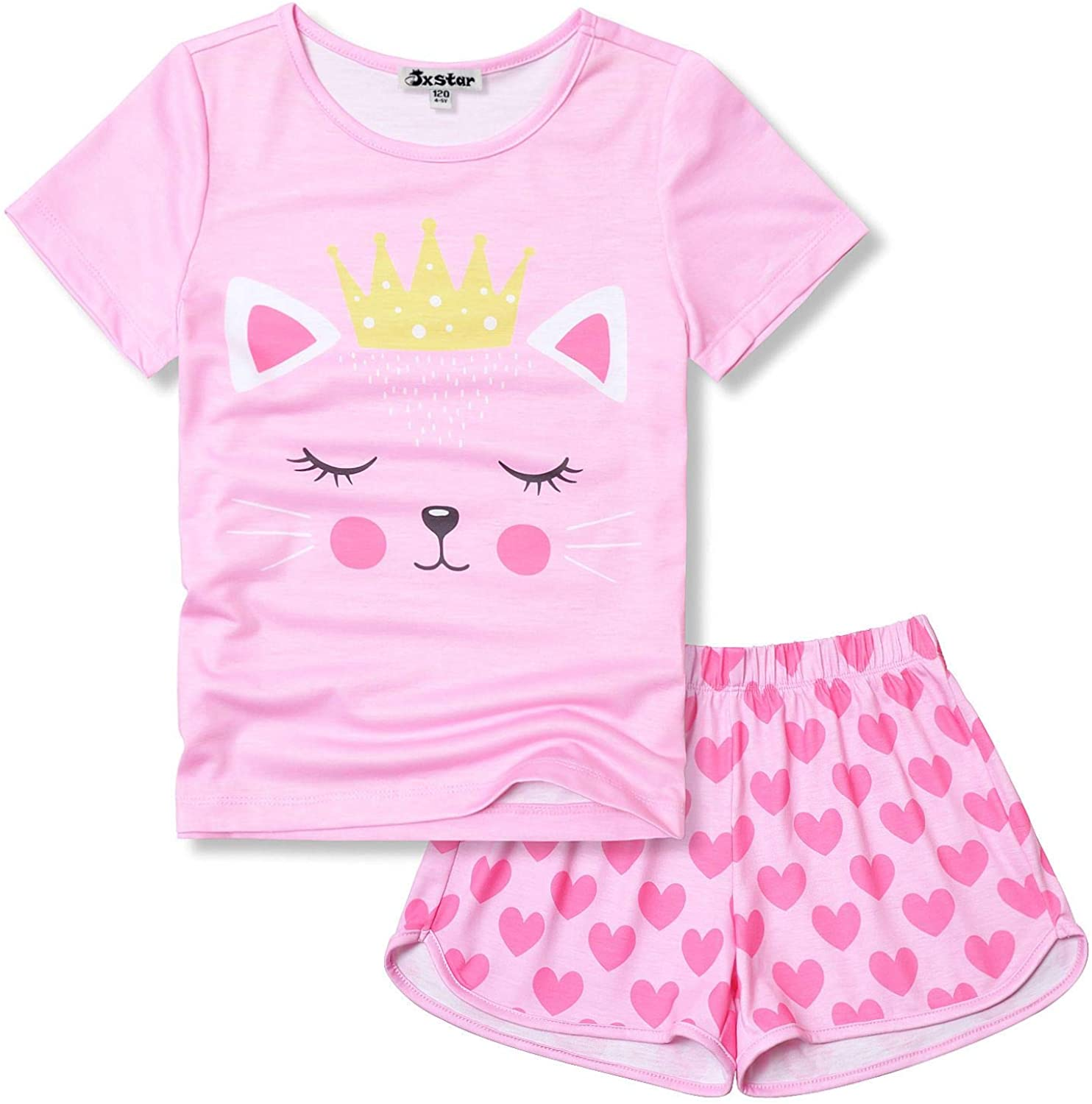 Jxstar Pajamas Sets for Girls Unicorn Pjs Little Kids Summer Cotton Sleepwear