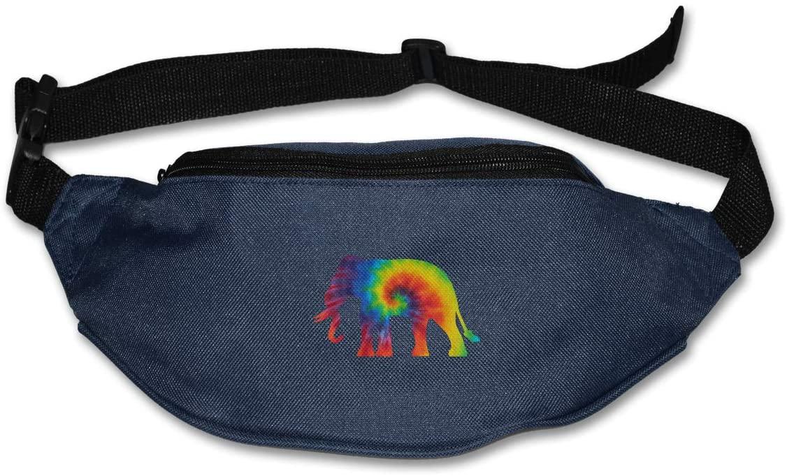 SWEET-YZ Unisex Waist Pack Tie Dye Elephant Flat Fanny Bag Pack for Sport Running