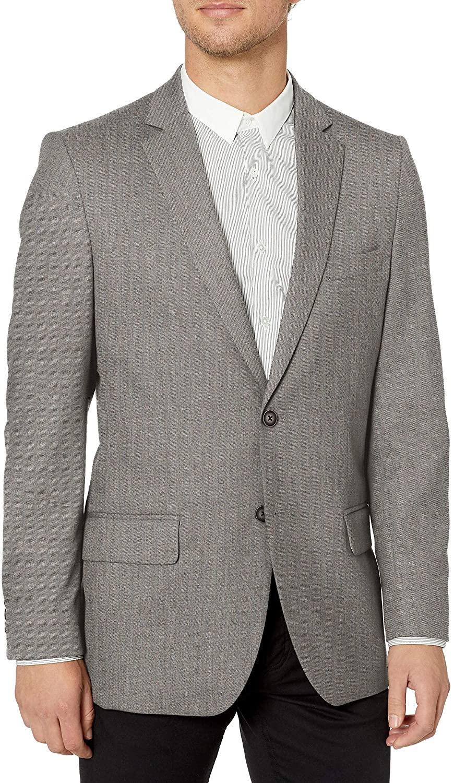 J.M. Haggar Mens Sharkskin Premium Tailored-Fit Stretch Suit Separate Coat, Medium Grey, 48R