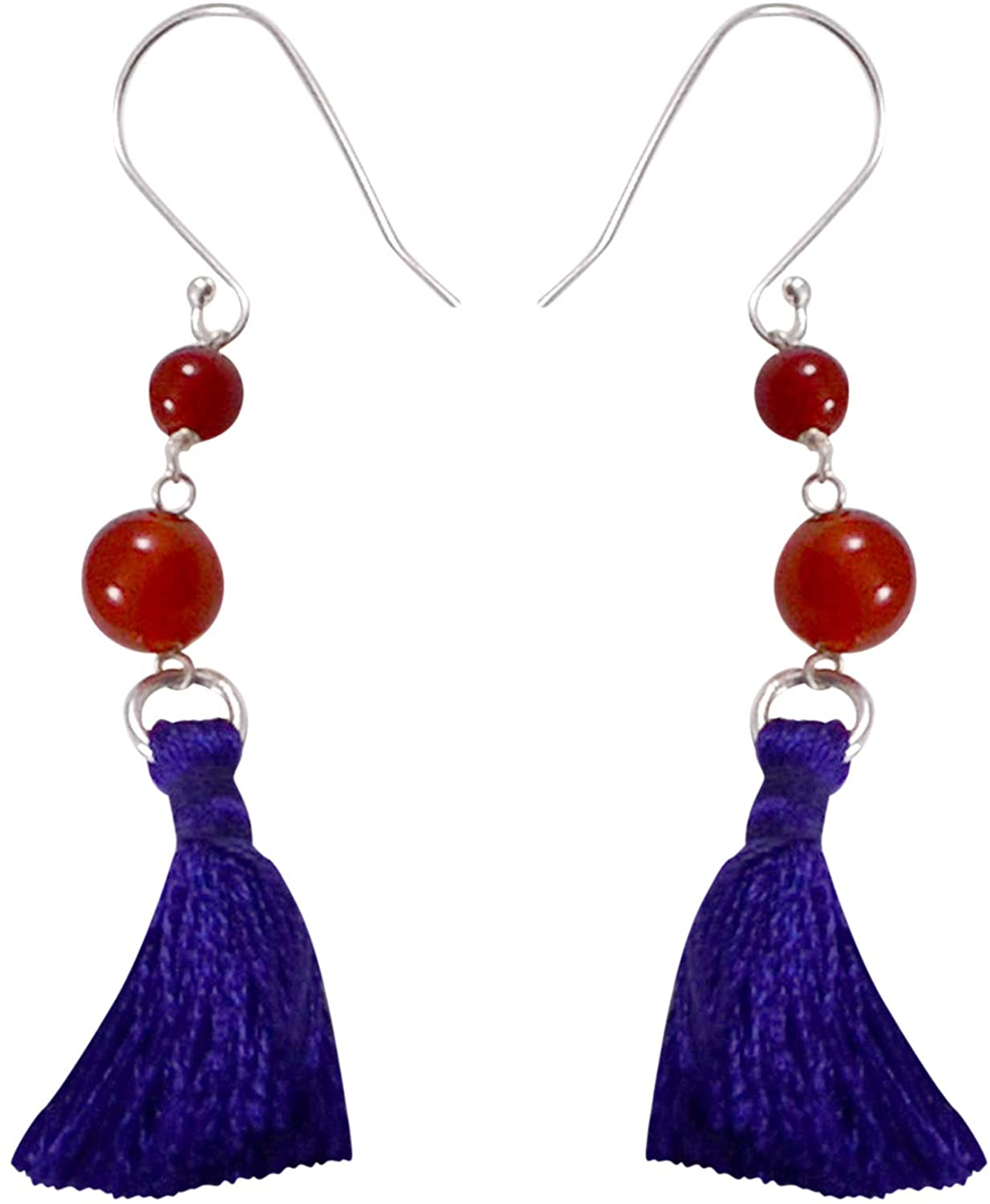 Saamarth Impex 4 & 6 mm Carnelian Handmade Jewelry Manufacturer Round Stone With Tassel 925 Sterling Silver,Fish Hook, Jaipur Rajasthan India Dangle Earring