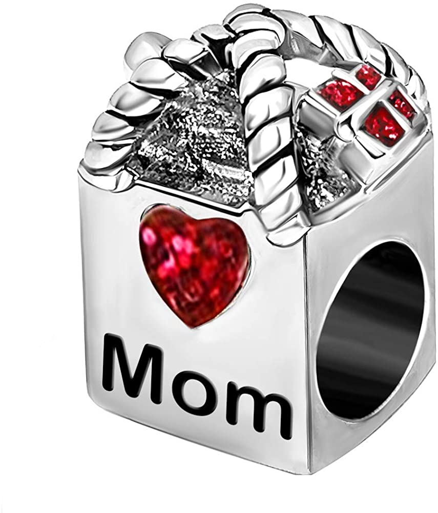 JMQJewelry Mom to Shop Heart Love Birthstone Charms for Bracelets Mother Wife Grandma Sister Gifts