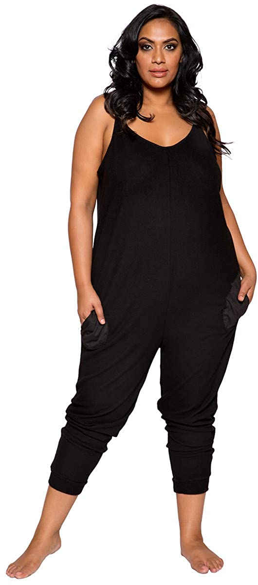 Musotica Sexy Supersoft Plus Size Cosy Pajama Pocket Jumpsuit