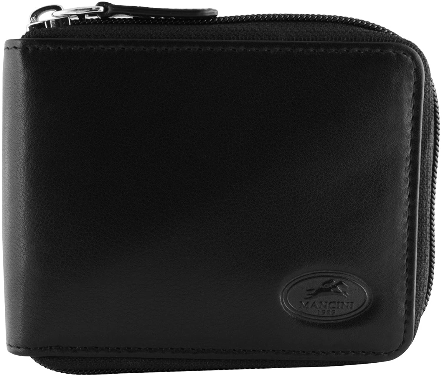 Mancini RFID Secure Men's Zippered Leather Wallet