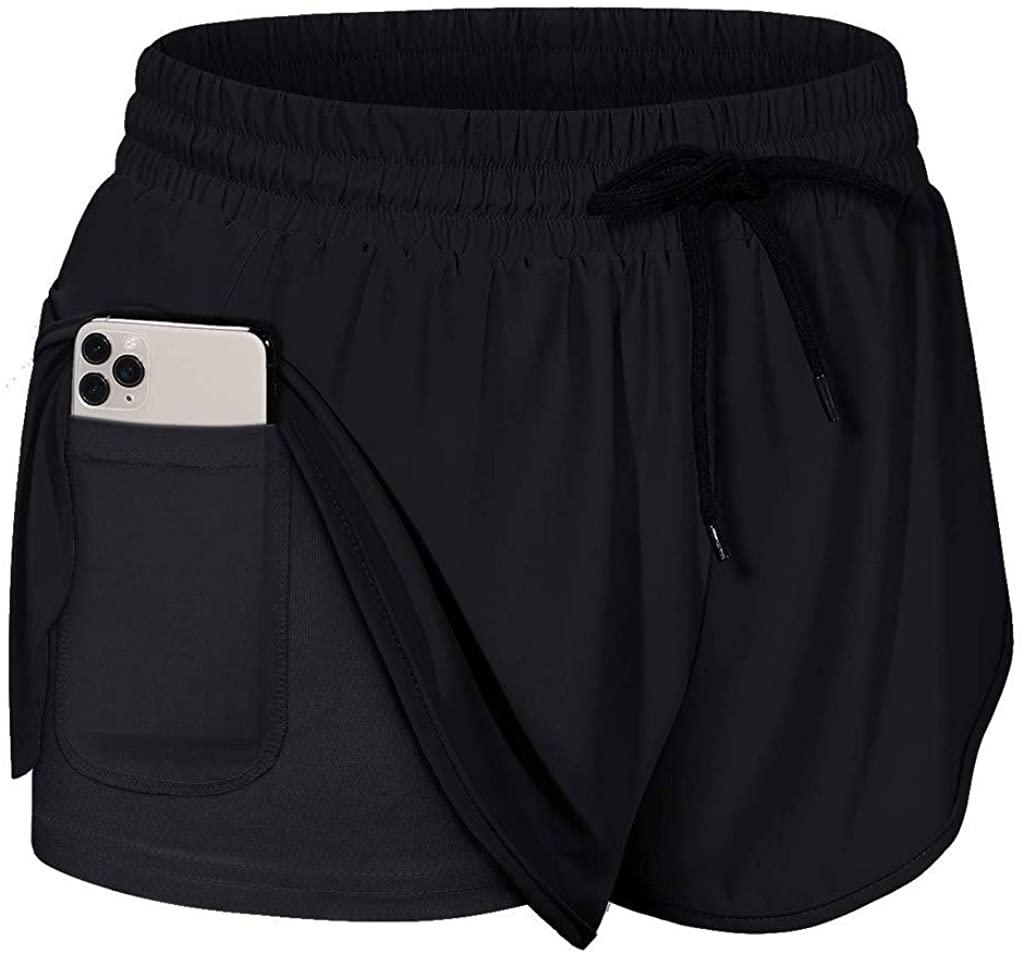 Houshelp Women Workout Fitness Running Shorts Double Layer Active Yoga Gym Sport Shorts Drawstring Tennis Shorts