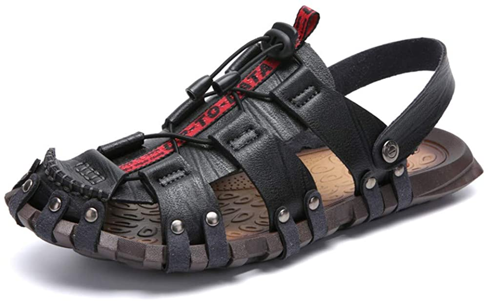 Mens Beach Sandals Hiking Camping Sandals Rivet Genuine Leather Fisherman Shoes